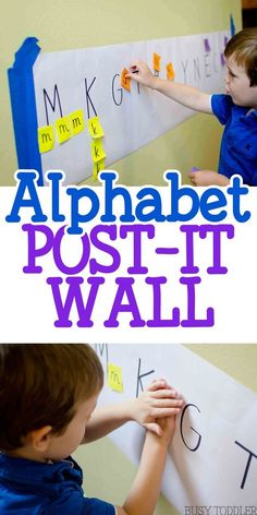 Motherhood Discover Alphabet Post-It Wall - Busy Toddler Alphabet Post-It Wall: an easy literacy activity for toddlers and preschoolers; quick and easy indoor activity; Preschool Letters, Preschool Classroom, Preschool Learning, Classroom Activities, Preschool Activities, Preschool Library Center, Summer Activities, Family Activities, Toddler Learning