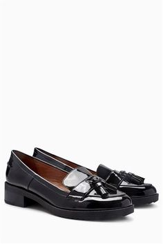 Buy Black Patent Cleated Tassel Loafers from the Next UK online shop