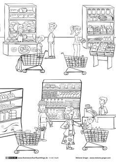 Download als PDF:In der Stadt – Supermarkt Einkaufen – Groger