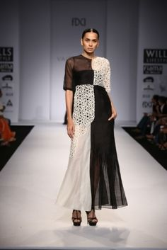 Interesting black and white dress by Vaishali S. #wifw #ss14 #fdci #infashion #fashion #trends #fashionweek #vaishalis