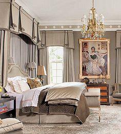 Luxe bedroom design.. Reminds me of an old timey plantation bedroom modernized