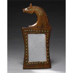 IOWA PAINTED WOOD HORSE EFFIGY MIRROR