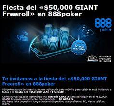 Unite a la fiesta del u$s 50,000 GIANT Freeroll en 888poker