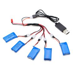 H107C-004 5x3.7V 380mAh Battery 2 to 5 Cable USB Charging Cable