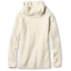 L.L.Bean Cozy Boucle Sweater, Pullover Cowlneck ($55) ❤ liked on Polyvore featuring tops, sweaters, cowlneck top, fitted sweater, white sweater, cowl neck sweaters and boucle sweater