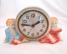 Vintage Sessions Electric Mantle Shelf Clock Ceramic Porcelain Victorian Works   eBay