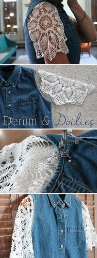Add a delicate touch to your jean jacket with this super cute tutorial! Doiles and denim looks amazing together. Step-by-step instructions Shirt Refashion, T Shirt Diy, Shirt Vest, Diy Clothing, Sewing Clothes, Denim Ideas, Denim Crafts, Altered Couture, Altering Clothes