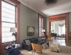decorating oak woodwork taupe blue  living room | Gray Paint Colors with Wood Trim is Sherwin Williams Unusual Gray.