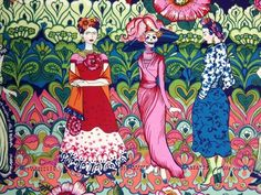 Frida Kahlo Dia De Los Muertos Panel Cotton Fabric Quilt Fabric AH14