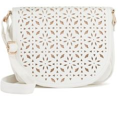 Under One Sky Laser-Cut Metallic Saddle Crossbody Bag (£37) ❤ liked on Polyvore featuring bags, handbags, shoulder bags, purses, accessories, white, white shoulder handbags, white crossbody handbags, crossbody shoulder bags and handbags crossbody