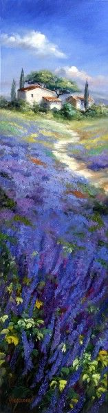"Oil Painting from the german artist Ute Herrmann.  ""Lavender Path"". More paintings you can find in the Midtjyllands Kunst Center in Bryrup, denmark."
