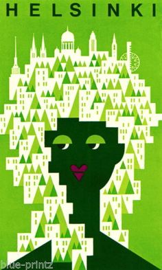 HELSINKI-FINLAND-VINTAGE-PRINT-GREEN-ART-PAINTING