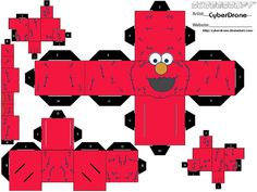 My Custom Cubeecraft Cutout template of Elmo from the TV show Sesame Street. Also i have a Custom Cubee of Cookie monster which can be found here Paper Cube, 3d Paper, Cardboard Toys, Paper Toys, Origami, Elmo Toys, 3d Templates, Muppet Babies, Elmo Party