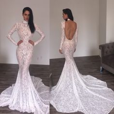 Angelic signature white lace with long train and open back. - Michael Costello US Size Chart - Terms