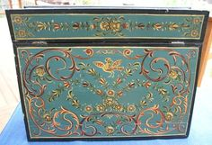 vtg old Norwegian Scandinavian ROSEMALING folk art wood desk box storage trunk #NaivePrimitive
