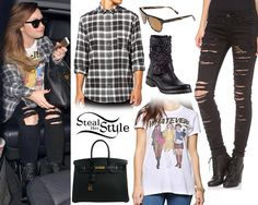 Demi Lovato was seen in London today wearing an Urban Outfitters Clueless Whatever Tee ($29.00), jeans similar to the Blank Denim Ripped Skinny Jeans ($88.00), a Cheap Monday Neo Shirt ($40.01), a pair of Steve Madden Marcoo Biker Boots ($79.99), a pair of Oliver Peoples Daddy B Sunglasses ($325.00) and her Hermés Birkin Bag (not available online).