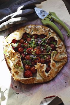 gardener's crostata with cherry tomatoes and fresh herbs