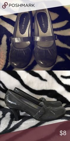 Madden Girl Heels Charcoal gray, patent leather maryjane style heels. Great condition. Madden Girl Shoes Heels