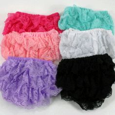 Lace Lacy Diaper Covers Bloomers Baby Girls Pink green lavender black white aqua (ebay)