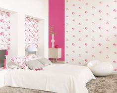 Casadeco Magenta Fleur Wallpaper, pretty shabby chic wallpaper from;  www.4-id-shop.co.uk Magenta, Shabby Chic Wallpaper, Designer Wallpaper, Bed, Interior, Floral, Pretty, Room, Finesse