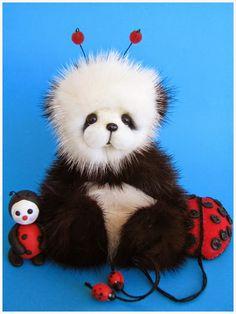 Lana handmade ladybug bear from Blue Valley Bears.