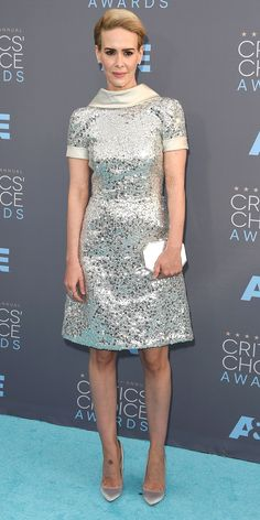 Critic's Choice Awards 2016: SARAH PAULSON wears a fully sequined Naeem Khan dress with champagne satin cuff and collar with Brian Atwood heels and Kwiat gems.