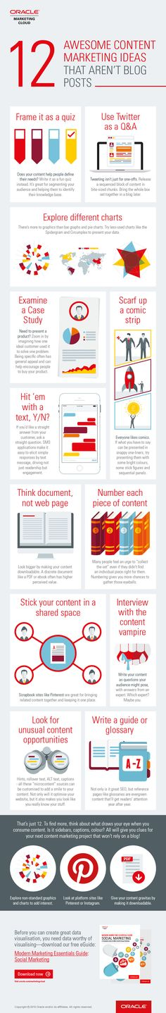 These are unique ways to share your content on different social media platforms.  For more ideas click on pin and contact us.