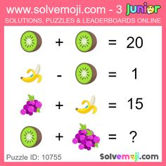Solvemoji - Free teaching resources - Emoji math puzzle, great as a primary math starter, or to give your brain an emoji game workout. Math Logic Puzzles, Math Quizzes, Mind Puzzles, Math Games, Logic Games, Math For Kids, Fun Math, Math Clock, Order Of Operations