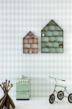 pastel harlequin wallpaper + the little dorm cases for kids room, from Ferm Living Harlequin Wallpaper, Mint Wallpaper, Diamond Wallpaper, Cloud Wallpaper, Dorm Design, House Shelves, House Wall, Dorm Shelves, Cubby Shelves