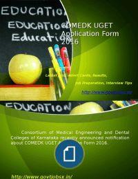 COMEDK UGET Application Form 2016 Entrance Exam/Last Date