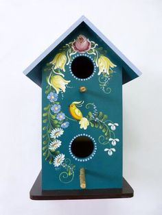 Bauernmalerei Mundo da Arte Atelier Decorative Bird Houses, Bird Houses Painted, Norwegian Rosemaling, Birdhouse Designs, Art Populaire, Bird Boxes, Art Decor, Decoration, Tole Painting