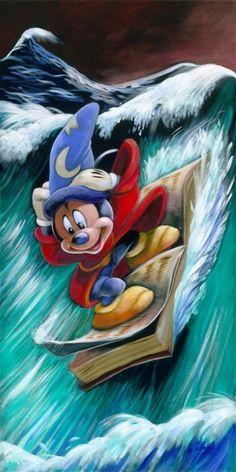 Fantasia Mickey book surfing... I love Disney