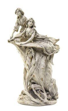 A Royal Dux Art Nouveau Porcelain Figural Vase.