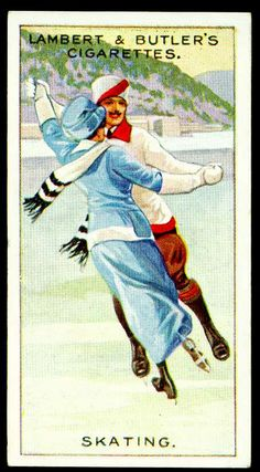 "Cigarette Card - Ice Skating  Lambert & Butler's Cigarettes ""Winter Sports"" (set of 25 issued in 1914)  No3 Skating"