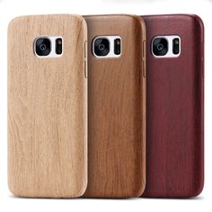 KISSCASE For Samsung S7 Edge Ultra Slim Wood PU Leather Slim Case For Samsung Galaxy S7 / S7 Edge Wooded Bamboo Cover Conque