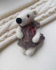 Needle felted brooch-Polar Bear by FeltAccessories on Etsy