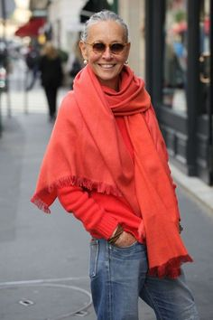 Solid bright sweater and scarf - boyfriend jeans