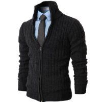 H2H Mens Casual Knitted Cardigan Zip-up with Twisted Pattern CHARCOAL US L/Asia XL (KMOCAL017) $57.50 #H2H