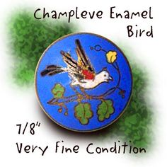 Image Copyright by RC Larner ~ Vintage 20th C. Champleve Enamel Bird Button ~ R C Larner Buttons at eBay  http://stores.ebay.com/RC-LARNER-BUTTONS