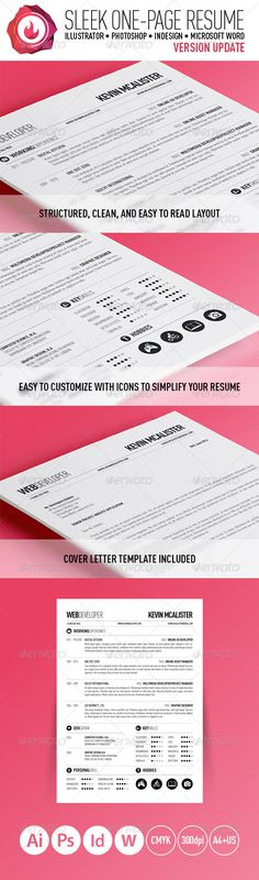 Buy Sleek One-Page Resume by Grimz on GraphicRiver. One-page Sleek Resume to give your resume a stand-out look. A modern and professional look with clean typography. Cover Letter Layout, Resume Cover Letter Template, Nursing Resume Template, Teacher Resume Template, Best Resume Template, Resume Design Template, Flyer Design Templates, Print Templates, Basic Resume