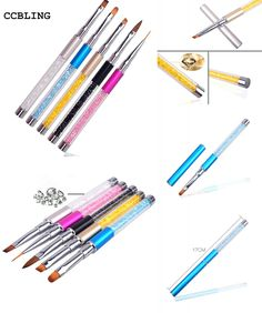 [Visit to Buy] Nail Art Brush Pen Rhinestone Diamond Metal Acrylic Handle Carving Powder Gel Liquid Salon Liner Nail Brush With Cap 2017 New #Advertisement