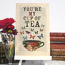 Antique Paper Upcycled 'Cup of Tea' Art Print by Roo Abrook, the perfect gift for Explore more unique gifts in our curated marketplace. Recipe Paper, Modern Frames, Tea Art, My Cup Of Tea, Love And Marriage, Drinking Tea, Upcycle, Tea Cups, Diy And Crafts