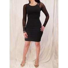 Long Mesh Sleeve Bodycon Brand new with tags. So sexy and perfect for date night! I have size small, medium and large. Has beautiful full length mesh sleeves and a gold zippered closure. The dress is slightly stretchy and fits wonderfully! Styled by Valerie Musto Dresses