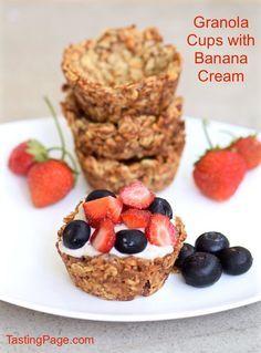 Granola Cups with Banana Cream - gluten free, dairy free and vegan   TastingPage.com