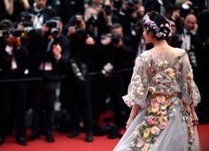 Back details on Fan Bingbing's floral Marchesa dress at Cannes 2015