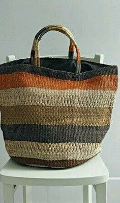 Over-sized Jute Market Bag Next cool market bag in grays and neutrals.would love this as a beach bag!a striped bag great for fall color. hit the farmer's market and then the cider mill and pumpkin patch with it. My Bags, Purses And Bags, Striped Bags, Basket Bag, Summer Bags, Handmade Bags, Beautiful Bags, Fashion Bags, Fashion Trends