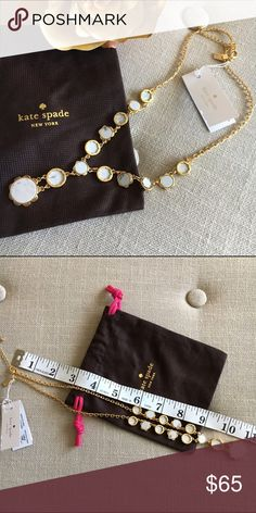"Kate Spade White Punchy Petals Necklace This Kate Spade White Punchy Petals Y-Necklace is new with tags. Includes a dust bag! Clearing out my jewelry collection before I move this month so hoping to find a good home for this beauty! 12K Gold plated. 18"" length with 2"" extender. kate spade Jewelry Necklaces"