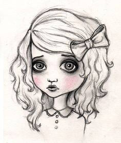 such a cute cartoon sketch of a girl i love when they make the cheeks pink but everything else black and white