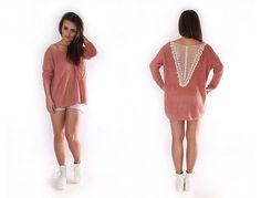 Sweter oversize z koronką #mokujin #clothing #fashion #moda #casual #sweater #long #oversize #trends #trend #lace
