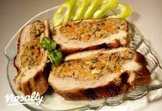 Zöldséges-májas töltött dagadó | Nosalty Roasted Pork Tenderloins, Hungarian Recipes, Pork Roast, Meatloaf, Meat Recipes, Mashed Potatoes, Sandwiches, Curry, Paleo